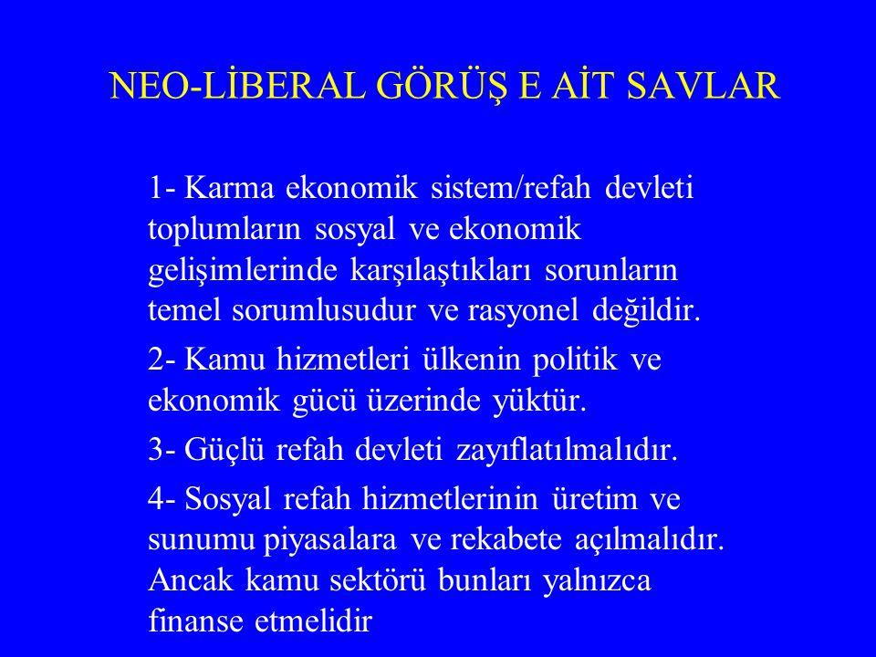 NEO-LİBERAL GÖRÜŞ E AİT SAVLAR 1- Karma ekonomik sistem/refah devleti toplumların sosyal ve ekonomik gelişimlerinde karşılaştıkları sorunların temel s