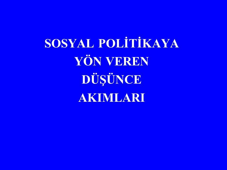 SOSYAL POLİTİKAYA YÖN VEREN DÜŞÜNCE AKIMLARI