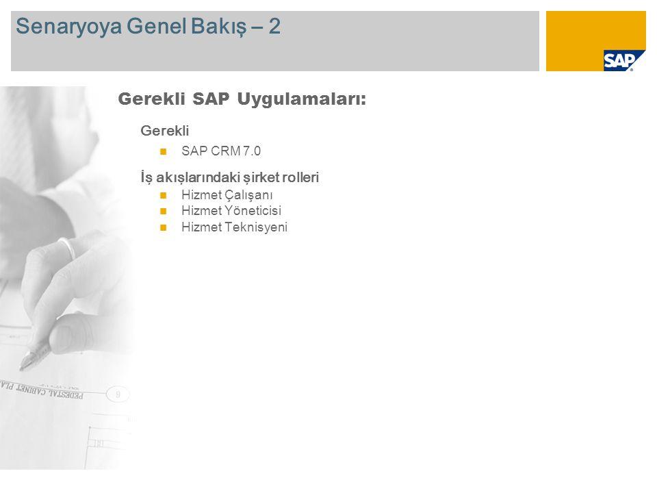 Senaryoya Genel Bakış – 2 Gerekli SAP CRM 7.0 İş akışlarındaki şirket rolleri Hizmet Çalışanı Hizmet Yöneticisi Hizmet Teknisyeni Gerekli SAP Uygulamaları: