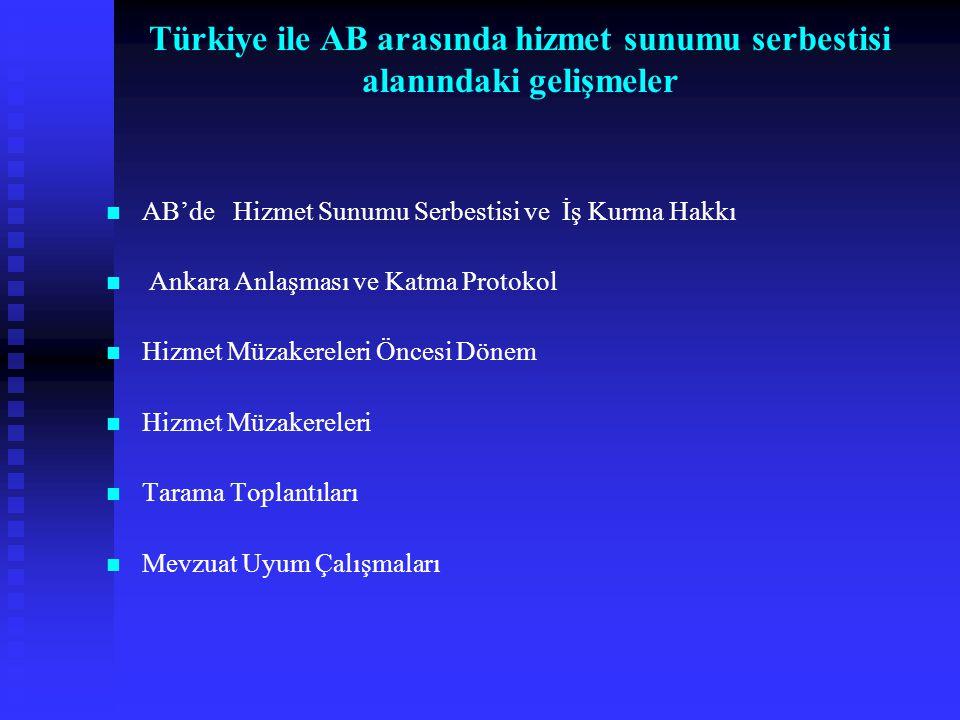 AB'de Hizmet Sunumu Serbestisi ve İş Kurma Hakkı Ankara Anlaşması ve Katma Protokol Hizmet Müzakereleri Öncesi Dönem Hizmet Müzakereleri Tarama Toplan