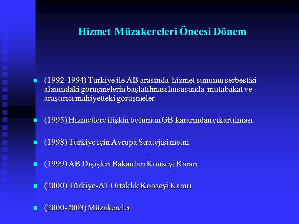 (1992-1994) Türkiye ile AB arasında hizmet sunumu serbestisi alanındaki görüşmelerin başlatılması hususunda mutabakat ve araştırıcı mahiyetteki görüşm