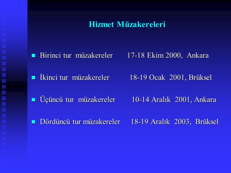 Hizmet Müzakereleri Birinci tur müzakereler 17-18 Ekim 2000, Ankara Birinci tur müzakereler 17-18 Ekim 2000, Ankara İkinci tur müzakereler 18-19 Ocak