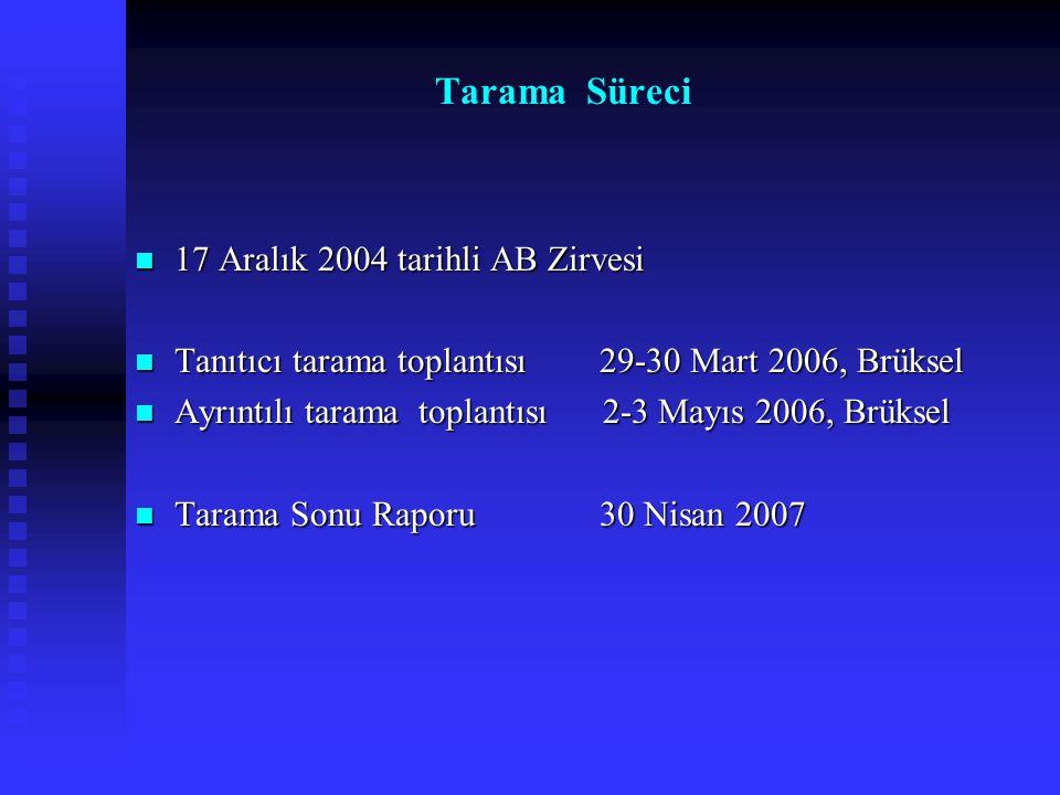 17 Aralık 2004 tarihli AB Zirvesi 17 Aralık 2004 tarihli AB Zirvesi Tanıtıcı tarama toplantısı 29-30 Mart 2006, Brüksel Tanıtıcı tarama toplantısı 29-