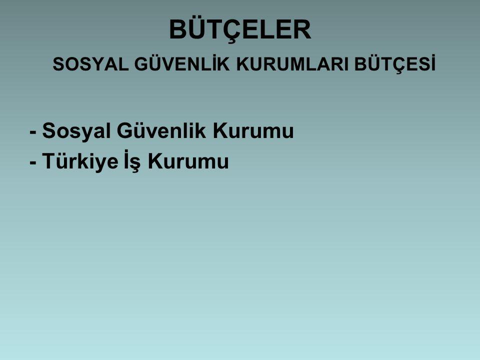 BÜTÇELER SOSYAL GÜVENLİK KURUMLARI BÜTÇESİ - Sosyal Güvenlik Kurumu - Türkiye İş Kurumu