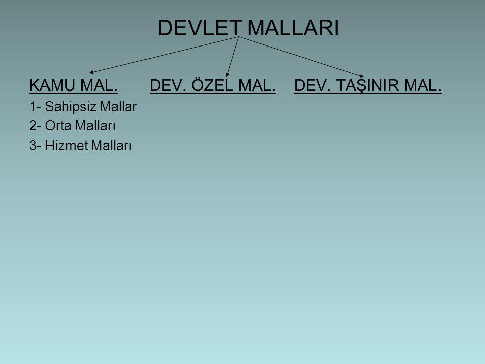 DEVLET MALLARI KAMU MAL.DEV. ÖZEL MAL. DEV. TAŞINIR MAL.