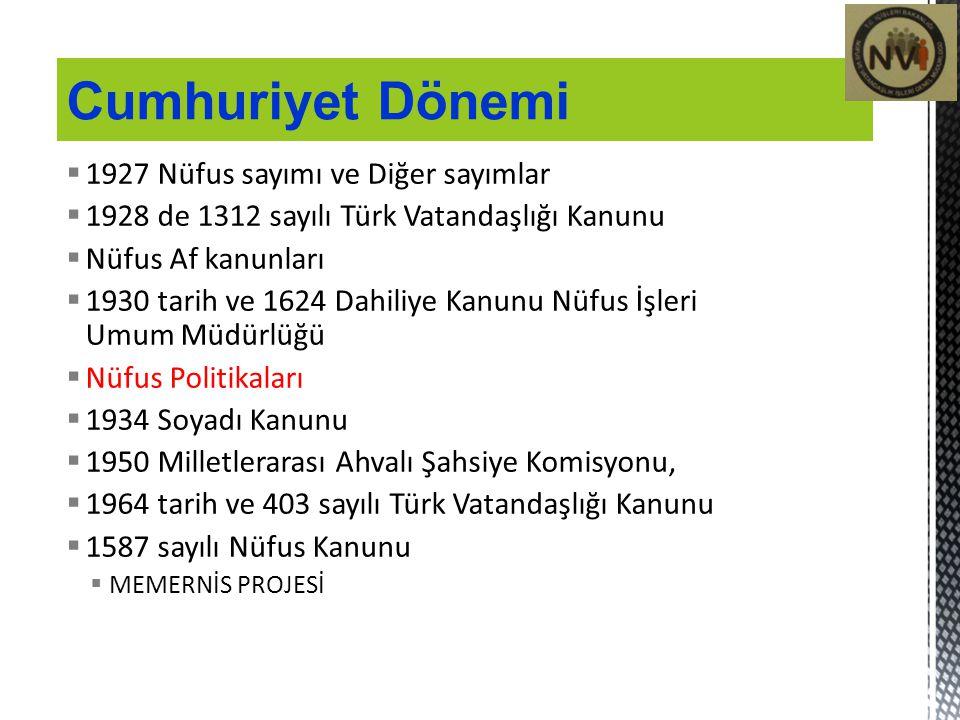 1927 Nüfus sayımı ve Diğer sayımlar  1928 de 1312 sayılı Türk Vatandaşlığı Kanunu  Nüfus Af kanunları  1930 tarih ve 1624 Dahiliye Kanunu Nüfus İ