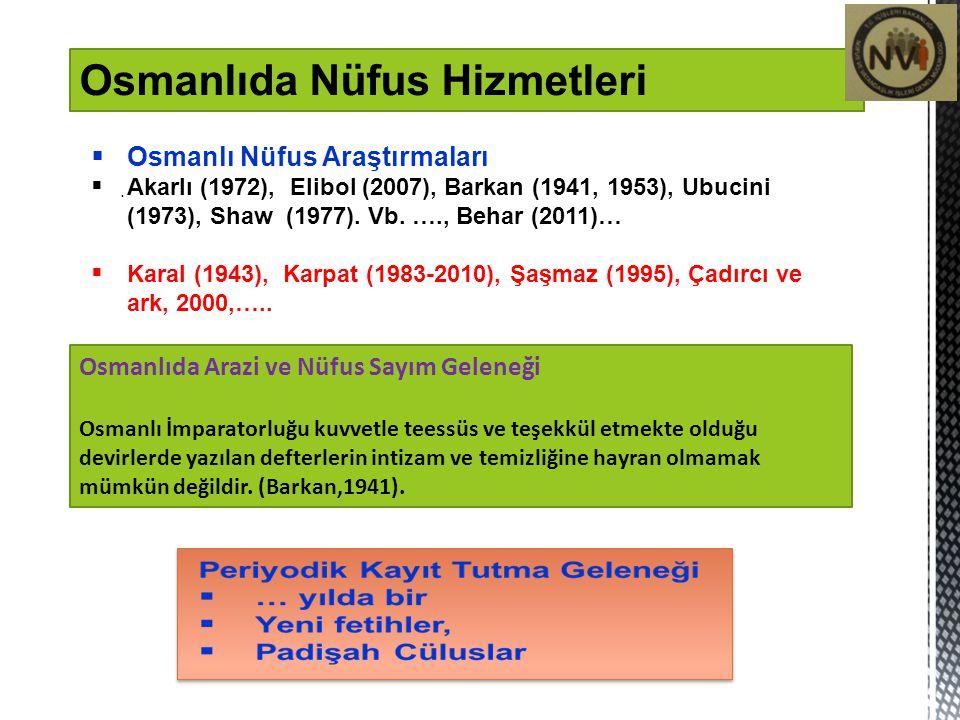 1831 Öncesi- 1829 İstanbul sayımı 1831 Nüfus sayımı/yazımı Bunu usülü sabıkadan çıkarmağa gelmez, Anadolu, Rumelnde, gizli… Vergi ve asker toplama gayesi… doğum, ölüm, nakil olayları … 1844 Nüfus sayımı/yazımı 1852 Rumeli nüfus sayımı/yazımı 1956'da Anadolu ve Suriye'de 1866 Tuna Vilayetinde – Tezker-i Osmaniye 1881/1882 Genel sayım/yazım 1905 sayım ve yazım 1914 sayımı