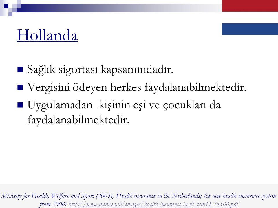 Hollanda Sağlık sigortası kapsamındadır.Vergisini ödeyen herkes faydalanabilmektedir.