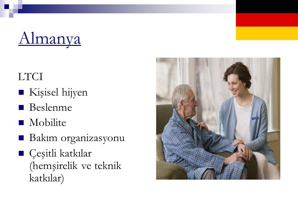 Almanya LTCI Kişisel hijyen Beslenme Mobilite Bakım organizasyonu Çeşitli katkılar (hemşirelik ve teknik katkılar)