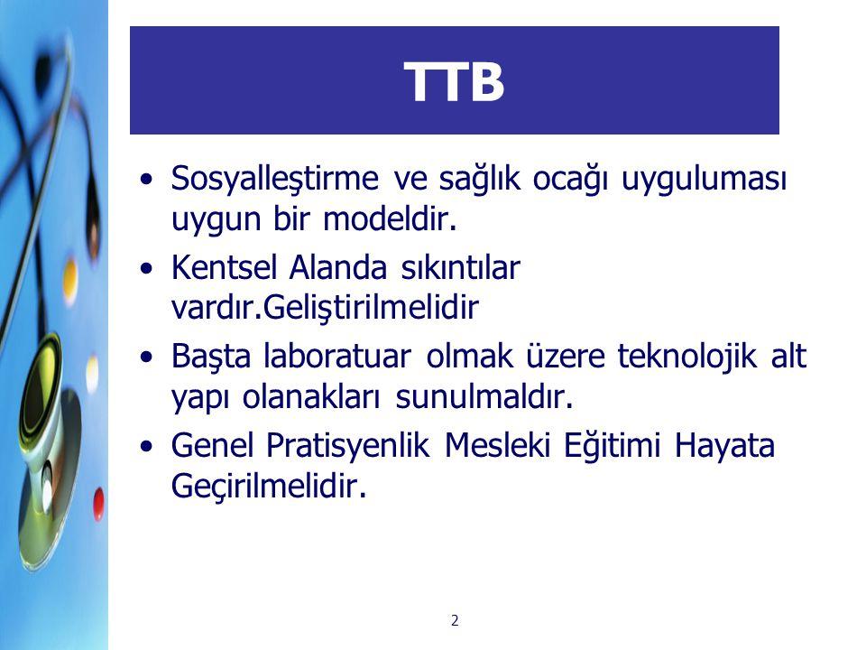 2 TTB Sosyalleştirme ve sağlık ocağı uyguluması uygun bir modeldir. Kentsel Alanda sıkıntılar vardır.Geliştirilmelidir Başta laboratuar olmak üzere te
