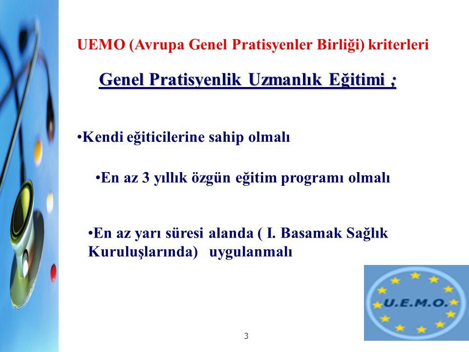 3 Genel Pratisyenlik Uzmanlık Eğitimi ; GP Mesleki Eğitimi UEMO (Avrupa Genel Pratisyenler Birliği) kriterleri Kendi eğiticilerine sahip olmalı En az