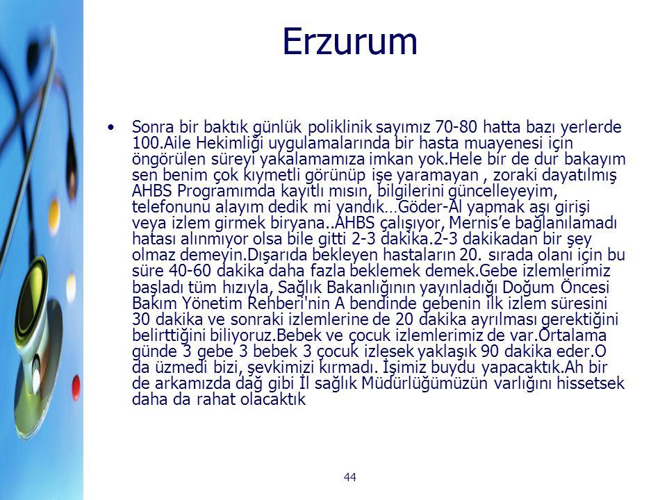44 Erzurum Sonra bir baktık günlük poliklinik sayımız 70-80 hatta bazı yerlerde 100.Aile Hekimliği uygulamalarında bir hasta muayenesi için öngörülen