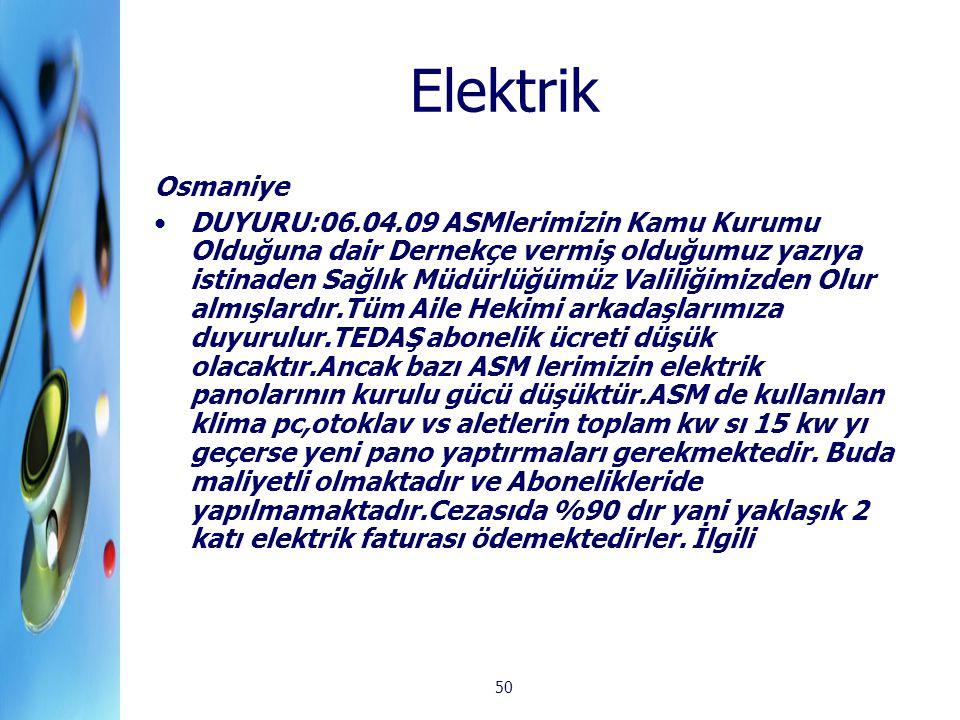 50 Elektrik Osmaniye DUYURU:06.04.09 ASMlerimizin Kamu Kurumu Olduğuna dair Dernekçe vermiş olduğumuz yazıya istinaden Sağlık Müdürlüğümüz Valiliğimiz