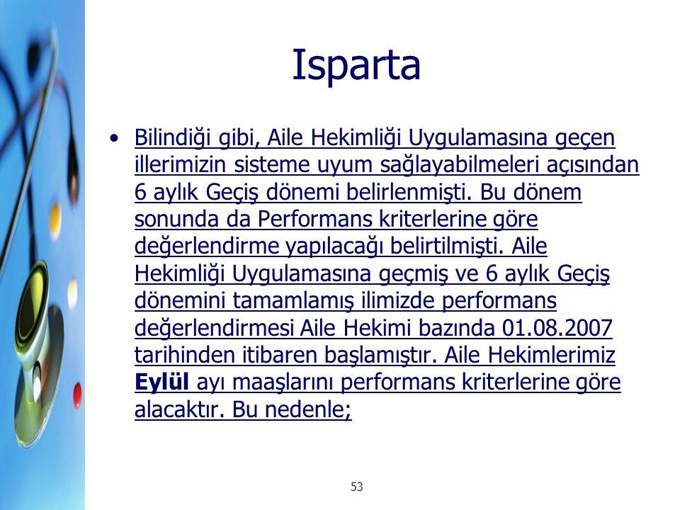 53 Isparta Bilindiği gibi, Aile Hekimliği Uygulamasına geçen illerimizin sisteme uyum sağlayabilmeleri açısından 6 aylık Geçiş dönemi belirlenmişti. B