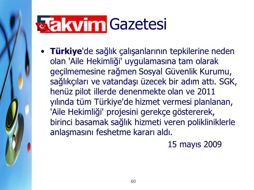 60 Gazetesi Türkiye'de sağlık çalışanlarının tepkilerine neden olan 'Aile Hekimliği' uygulamasına tam olarak geçilmemesine rağmen Sosyal Güvenlik Kuru