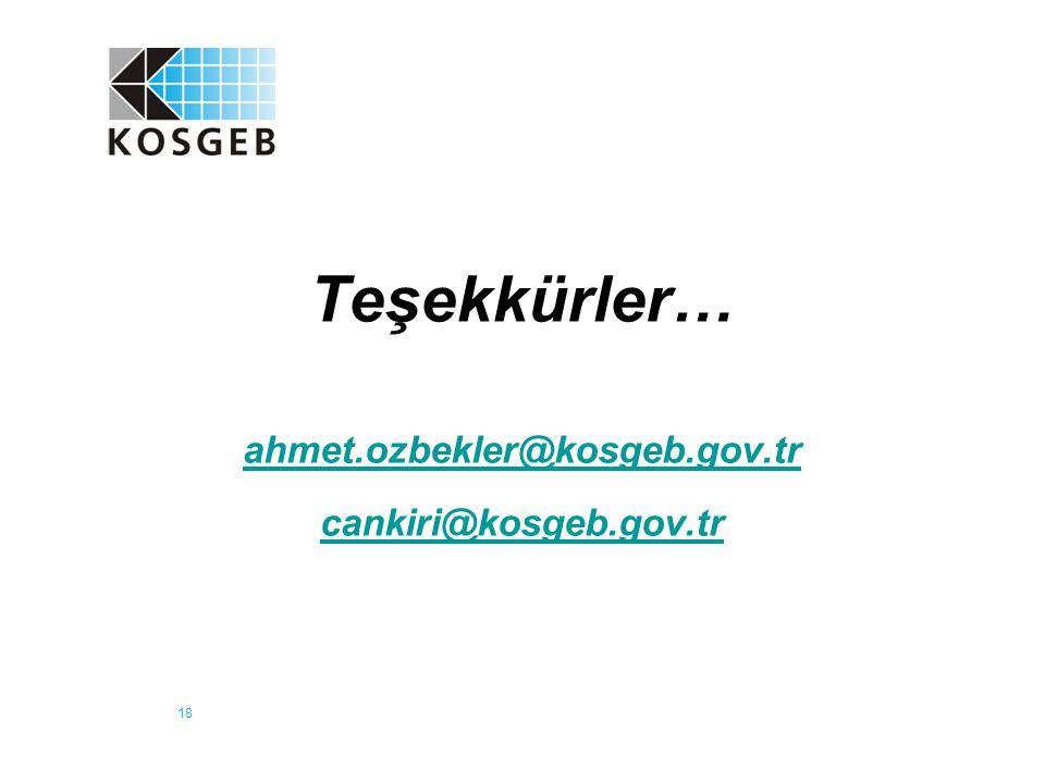18 Teşekkürler… ahmet.ozbekler@kosgeb.gov.tr cankiri@kosgeb.gov.tr