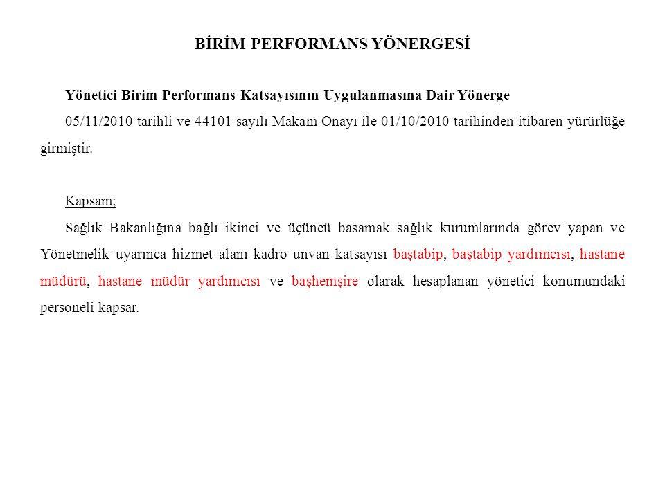 BİRİM PERFORMANS YÖNERGESİ Yönetici Birim Performans Katsayısının Uygulanmasına Dair Yönerge 05/11/2010 tarihli ve 44101 sayılı Makam Onayı ile 01/10/2010 tarihinden itibaren yürürlüğe girmiştir.
