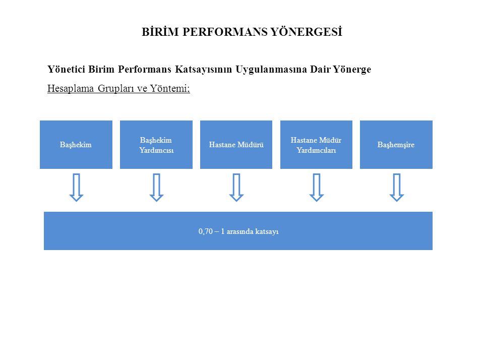 BİRİM PERFORMANS YÖNERGESİ Yönetici Birim Performans Katsayısının Uygulanmasına Dair Yönerge Hesaplama Grupları ve Yöntemi; Başhekim Başhekim Yardımcısı Hastane Müdürü Hastane Müdür Yardımcıları Başhemşire 0,70 – 1 arasında katsayı