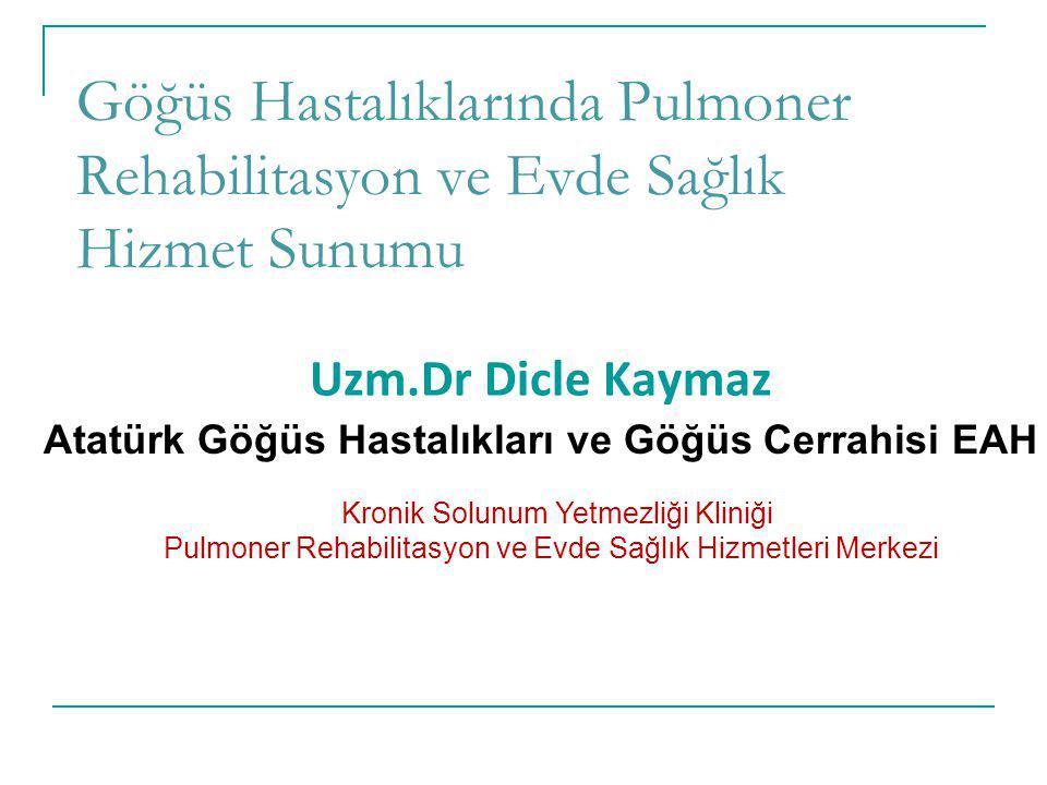 Göğüs Hastalıklarında Pulmoner Rehabilitasyon ve Evde Sağlık Hizmet Sunumu Uzm.Dr Dicle Kaymaz Atatürk Göğüs Hastalıkları ve Göğüs Cerrahisi EAH Kroni