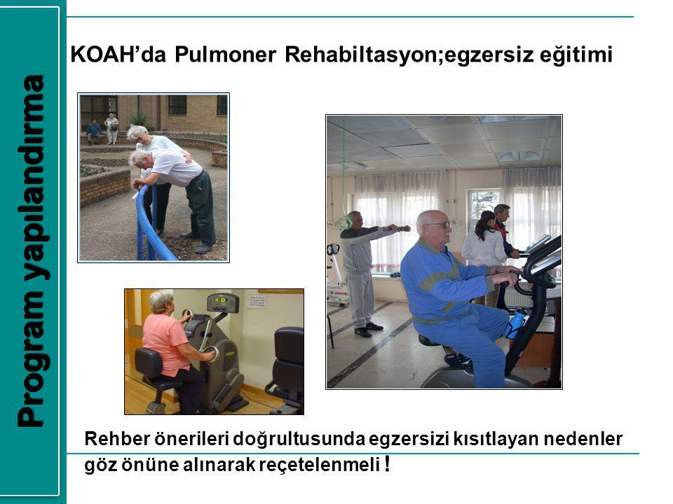 KOAH'da Pulmoner Rehabiltasyon;egzersiz eğitimi Program yapılandırma Rehber önerileri doğrultusunda egzersizi kısıtlayan nedenler göz önüne alınarak r