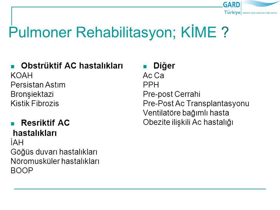Pulmoner Rehabilitasyon; KİME ? Obstrüktif AC hastalıkları KOAH Persistan Astım Bronşiektazi Kistik Fibrozis Resriktif AC hastalıkları İAH Göğüs duvar