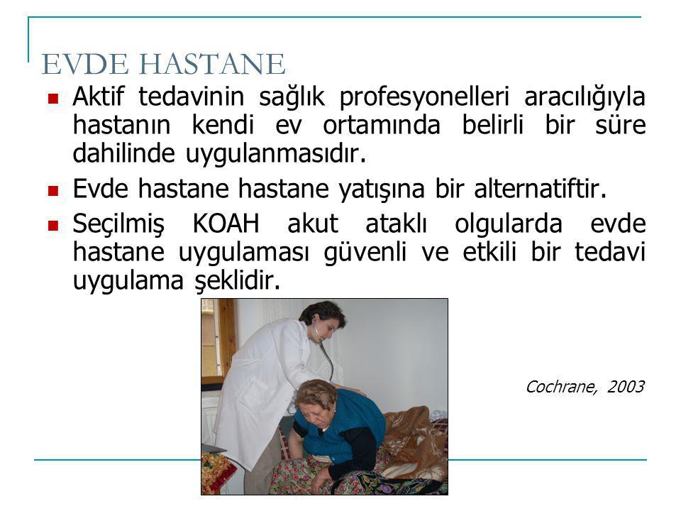 EVDE HASTANE Aktif tedavinin sağlık profesyonelleri aracılığıyla hastanın kendi ev ortamında belirli bir süre dahilinde uygulanmasıdır. Evde hastane h