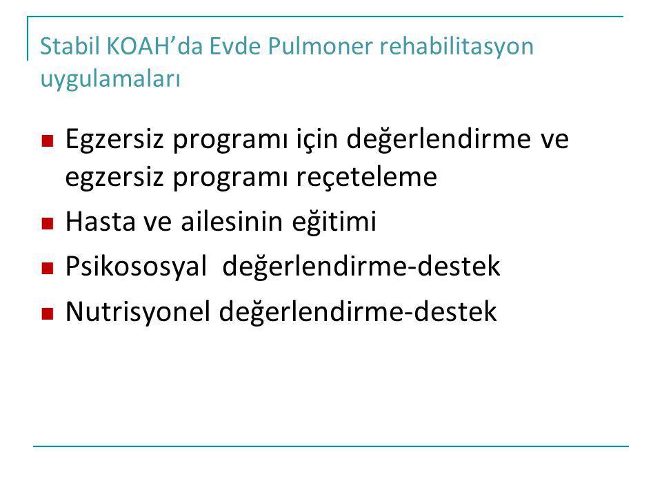 Stabil KOAH'da Evde Pulmoner rehabilitasyon uygulamaları Egzersiz programı için değerlendirme ve egzersiz programı reçeteleme Hasta ve ailesinin eğiti