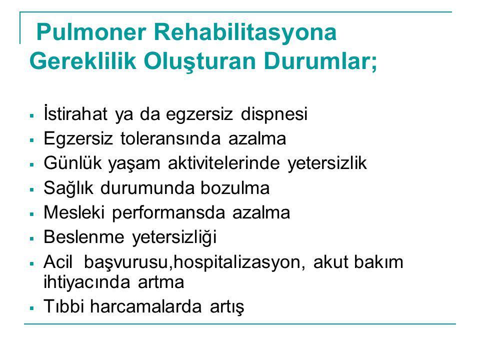 Pulmoner Rehabilitasyona Gereklilik Oluşturan Durumlar;  İstirahat ya da egzersiz dispnesi  Egzersiz toleransında azalma  Günlük yaşam aktiviteleri