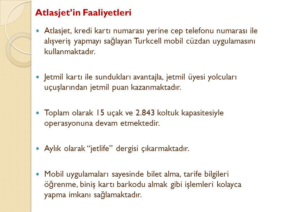 Atlasjet'in Faaliyetleri Atlasjet, kredi kartı numarası yerine cep telefonu numarası ile alışveriş yapmayı sa ğ layan Turkcell mobil cüzdan uygulaması
