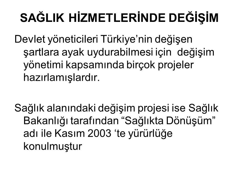 SAĞLIK HİZMETLERİNDE DEĞİŞİM Devlet yöneticileri Türkiye'nin değişen şartlara ayak uydurabilmesi için değişim yönetimi kapsamında birçok projeler hazırlamışlardır.