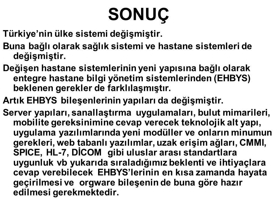 SONUÇ Türkiye'nin ülke sistemi değişmiştir. Buna bağlı olarak sağlık sistemi ve hastane sistemleri de değişmiştir. Değişen hastane sistemlerinin yeni