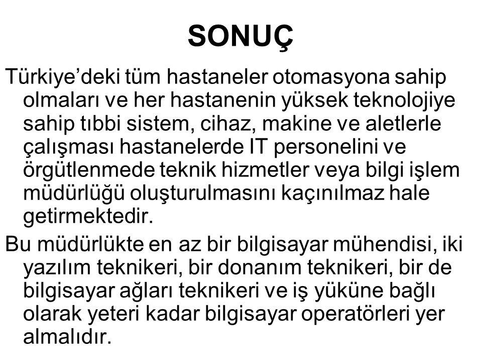 SONUÇ Türkiye'deki tüm hastaneler otomasyona sahip olmaları ve her hastanenin yüksek teknolojiye sahip tıbbi sistem, cihaz, makine ve aletlerle çalışm