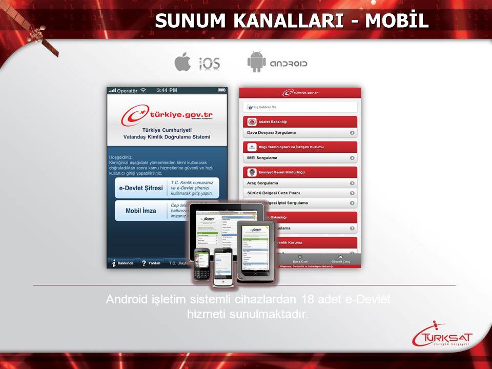 Android işletim sistemli cihazlardan 18 adet e-Devlet hizmeti sunulmaktadır. SUNUM KANALLARI - MOBİL