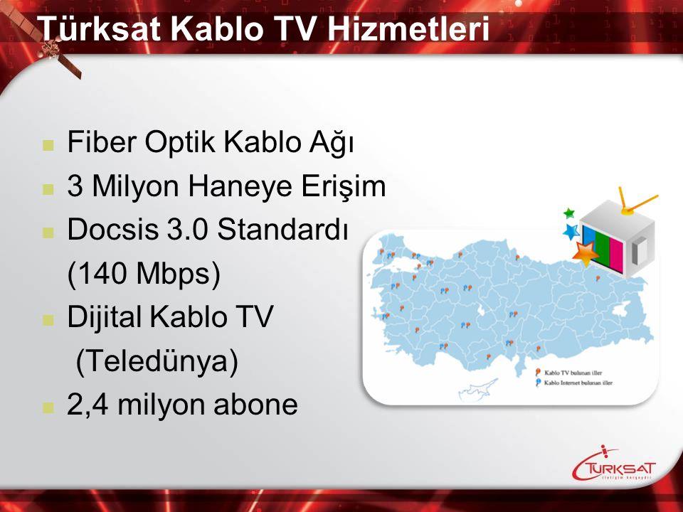 Fiber Optik Kablo Ağı 3 Milyon Haneye Erişim Docsis 3.0 Standardı (140 Mbps) Dijital Kablo TV (Teledünya) 2,4 milyon abone Türksat Kablo TV Hizmetleri
