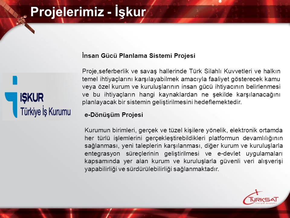 Projelerimiz - İşkur İnsan Gücü Planlama Sistemi Projesi Proje,seferberlik ve savaş hallerinde Türk Silahlı Kuvvetleri ve halkın temel ihtiyaçlarını k