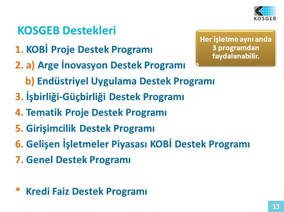 KOSGEB Destekleri 1.KOBİ Proje Destek Programı 2.