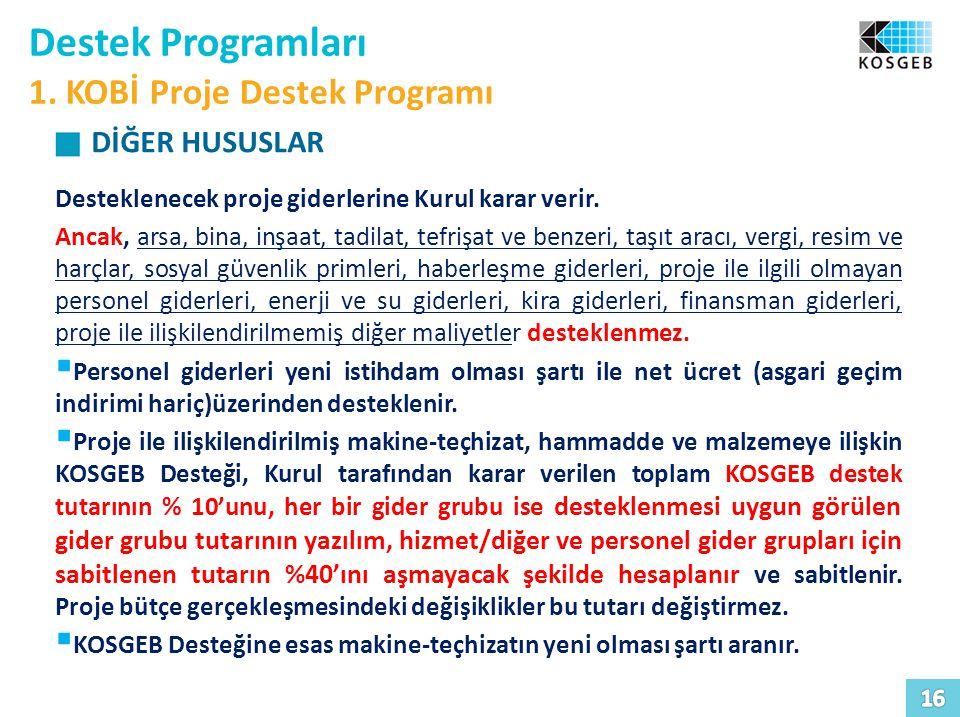 Destek Programları 1.