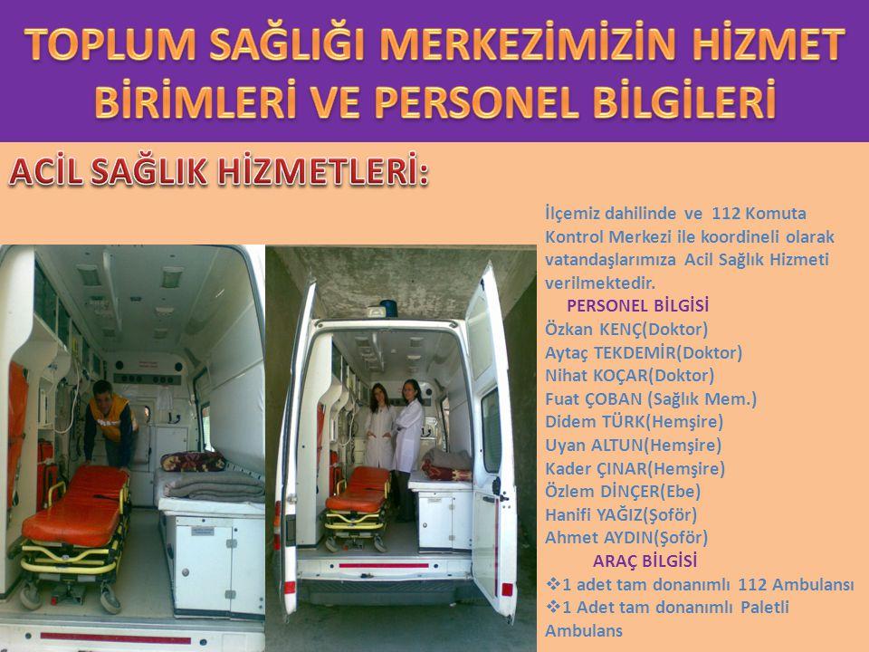 İlçemiz dahilinde ve 112 Komuta Kontrol Merkezi ile koordineli olarak vatandaşlarımıza Acil Sağlık Hizmeti verilmektedir.