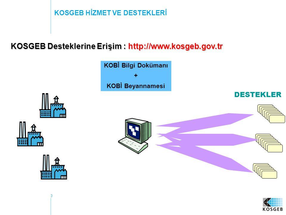 3 KOSGEB HİZMET VE DESTEKLERİ KOSGEB Desteklerine Erişim : http://www.kosgeb.gov.tr DESTEKLER KOBİ Bilgi Dokümanı + KOBİ Beyannamesi