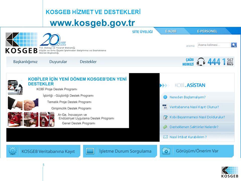 5 KOSGEB HİZMET VE DESTEKLERİ www.kosgeb.gov.tr
