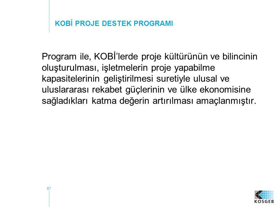 67 Program ile, KOBİ'lerde proje kültürünün ve bilincinin oluşturulması, işletmelerin proje yapabilme kapasitelerinin geliştirilmesi suretiyle ulusal ve uluslararası rekabet güçlerinin ve ülke ekonomisine sağladıkları katma değerin artırılması amaçlanmıştır.