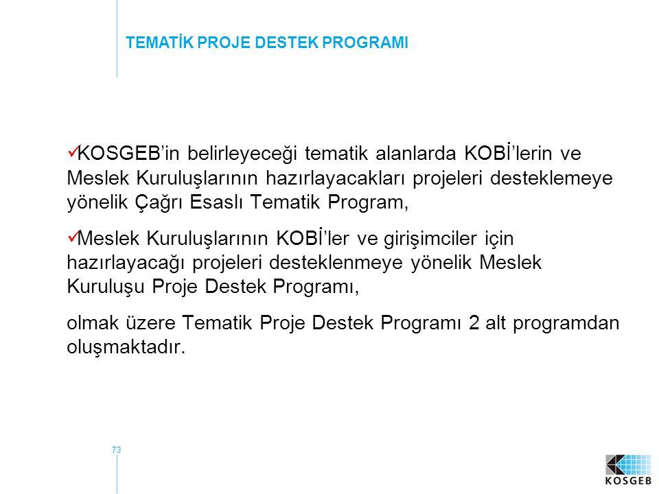 73 KOSGEB'in belirleyeceği tematik alanlarda KOBİ'lerin ve Meslek Kuruluşlarının hazırlayacakları projeleri desteklemeye yönelik Çağrı Esaslı Tematik Program, Meslek Kuruluşlarının KOBİ'ler ve girişimciler için hazırlayacağı projeleri desteklenmeye yönelik Meslek Kuruluşu Proje Destek Programı, olmak üzere Tematik Proje Destek Programı 2 alt programdan oluşmaktadır.