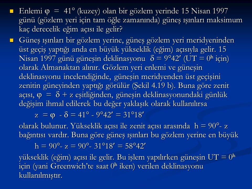 Enlemi  = 41  (kuzey) olan bir gözlem yerinde 15 Nisan 1997 günü (gözlem yeri için tam öğle zamanında) güneş ışınları maksimum kaç derecelik eğim aç