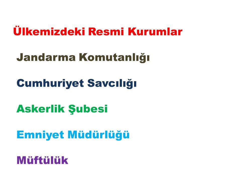Ülkemizdeki Resmi Kurumlar Jandarma Komutanlığı Cumhuriyet Savcılığı Askerlik Şubesi Emniyet Müdürlüğü Müftülük