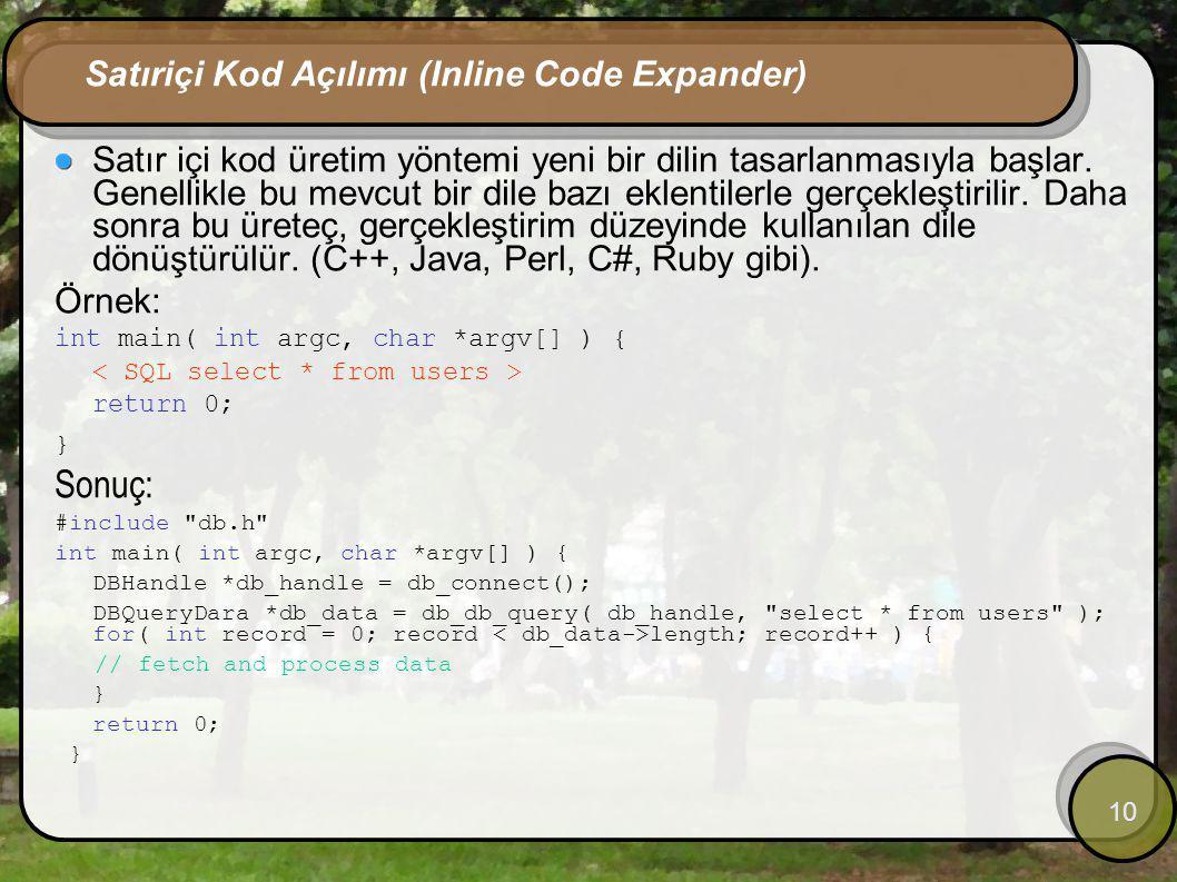10 Satıriçi Kod Açılımı (Inline Code Expander) Satır içi kod üretim yöntemi yeni bir dilin tasarlanmasıyla başlar. Genellikle bu mevcut bir dile bazı