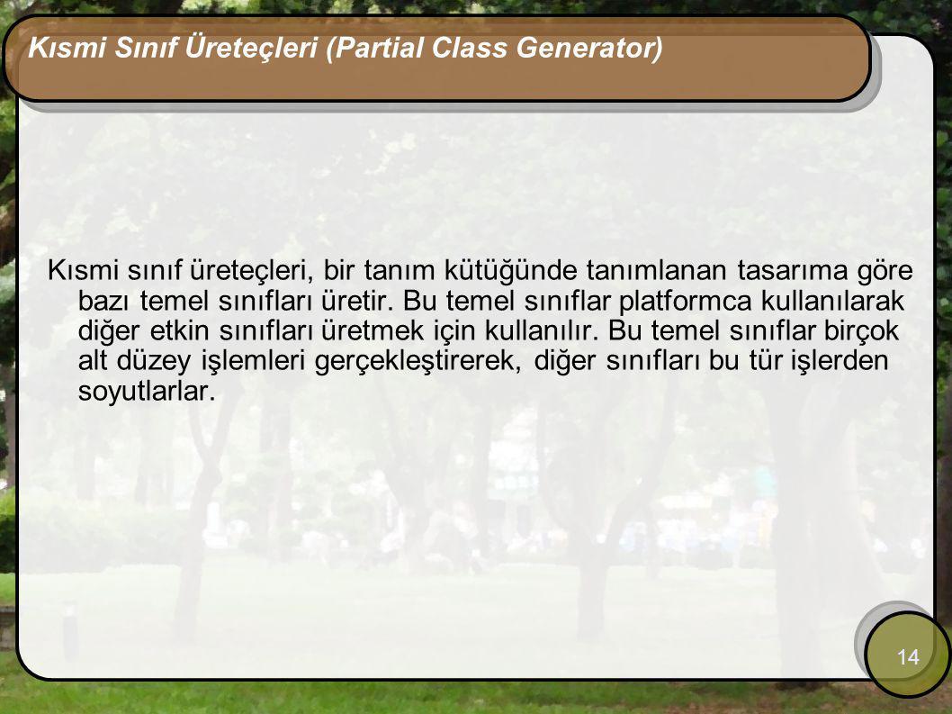 14 Kısmi Sınıf Üreteçleri (Partial Class Generator) Kısmi sınıf üreteçleri, bir tanım kütüğünde tanımlanan tasarıma göre bazı temel sınıfları üretir.