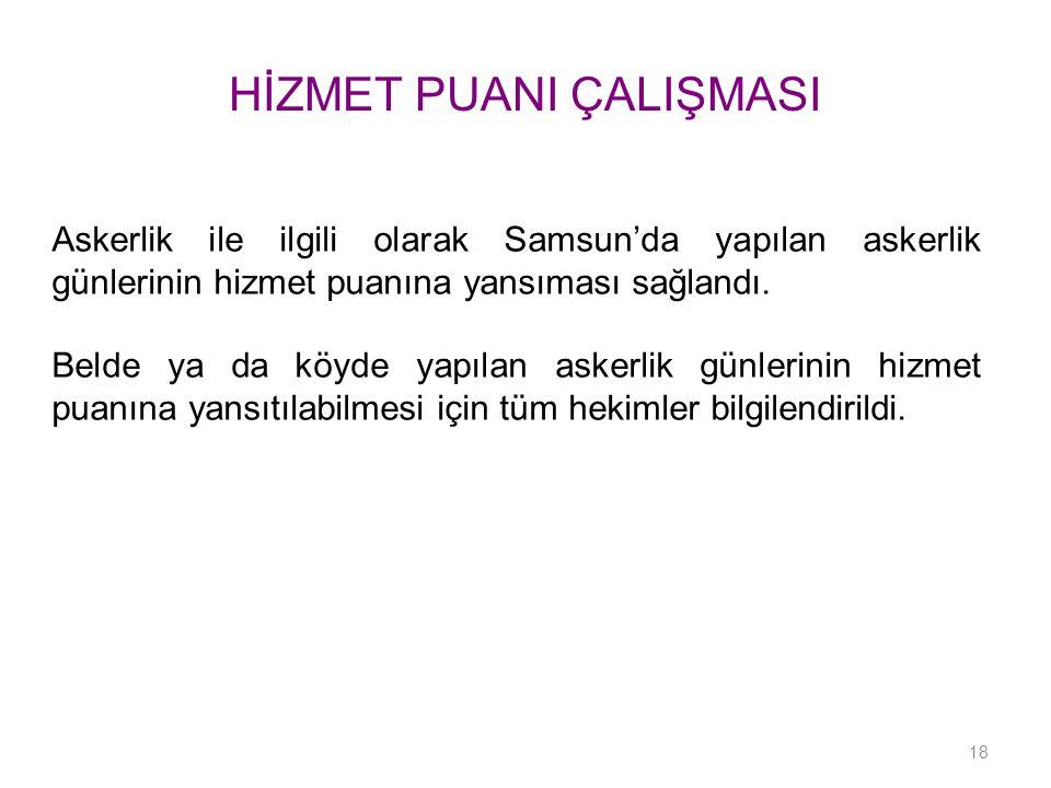 HİZMET PUANI ÇALIŞMASI Askerlik ile ilgili olarak Samsun'da yapılan askerlik günlerinin hizmet puanına yansıması sağlandı. Belde ya da köyde yapılan a