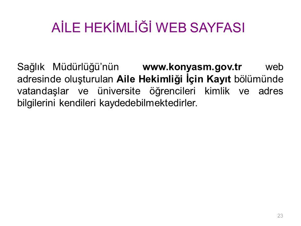 AİLE HEKİMLİĞİ WEB SAYFASI Sağlık Müdürlüğü'nün www.konyasm.gov.tr web adresinde oluşturulan Aile Hekimliği İçin Kayıt bölümünde vatandaşlar ve üniver
