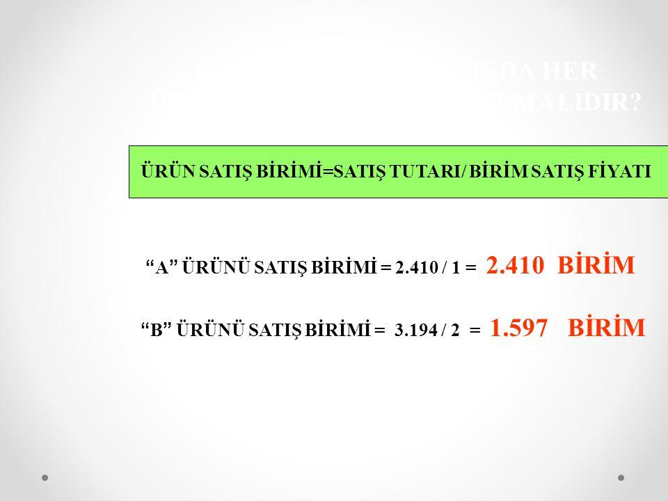 """KARA GEÇİŞ NOKTASINDA HER ÜRÜNDEN KAÇ BİRİM SATILMALIDIR? ÜRÜN SATIŞ BİRİMİ=SATIŞ TUTARI/ BİRİM SATIŞ FİYATI """" A """" ÜRÜNÜ SATIŞ BİRİMİ = 2.410 / 1 = 2."""
