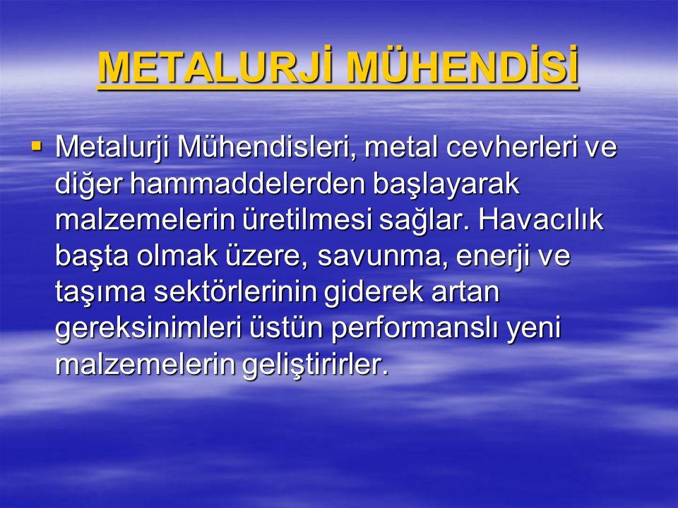 METALURJİ MÜHENDİSİ METALURJİ MÜHENDİSİ  Metalurji Mühendisleri, metal cevherleri ve diğer hammaddelerden başlayarak malzemelerin üretilmesi sağlar.